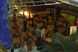 Giant chess at mini-mall in Edmonton
