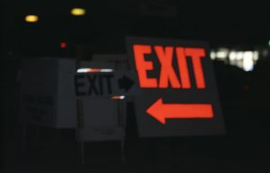 Contradictory exit signs