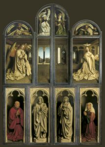 large altarpiece with 4 bottom panels showing donors and statues, four middle panels with the annunciation with Gabriel on leftmost, Mary on rightmost, saints in upper 4 lunettes